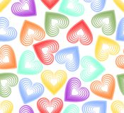 Vector seamless abstract background with rainbow outline heart Royalty Free Stock Photos