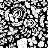Vector seamless abstract doodle flower and wave pattern Royalty Free Stock Image