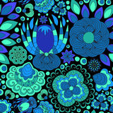Vector seamless abstract doodle flower and wave pattern Royalty Free Stock Photo