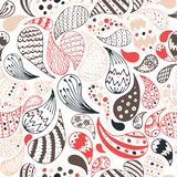 Vector seamless abstract floral drops pattern with doodle, hand drawn, hindi elements