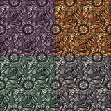 Vector seamless abstract flowers patterns set. Stock Photo