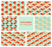 Vector Seamless Abstract Geometric Hexagonal Pattern Collection in Teal and Red Stock Photos