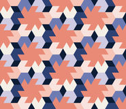 Vector Seamless  Abstract Geometric Hexagonal Tiling Shapes Pattern in Pink Blue and Navy Colors Stock Photography