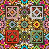 Vector seamless abstract kaleidoscope pattern in nature colors Stock Image
