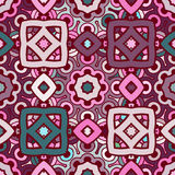 Vector seamless abstract kaleidoscope pattern in violet, turquoise and rosy colors Royalty Free Stock Images