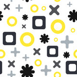 Vector seamless abstract pattern with cross, plus marks, squares and circles. Different sizes shapes on white background. For textile, web background, etc Royalty Free Stock Photography