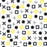 Vector seamless abstract pattern with crosses, pluses, squares and circles. Gray and yellow shapes on white background. Vector seamless abstract pattern with Stock Photos