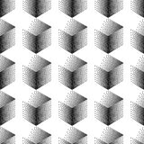 Vector seamless abstract pattern with dotted cubes on a white background. Stock Photos