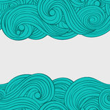 Vector seamless abstract pattern hand drawn background. With waves and clouds with a place for your text. Card design Vector Illustration