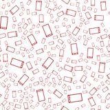 Vector seamless abstract pattern. Red smartphones on white background. Modern stylish texture Royalty Free Stock Image