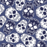 Vector seamless abstract pattern with skulls. Royalty Free Stock Images