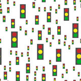 Vector seamless abstract pattern. Traffic lights on white background Stock Photography