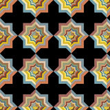 Vector seamless abstract tile repeating colorful optical pattern on black background Stock Images
