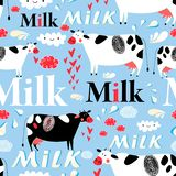 Vector seamless advertising pattern with cows and milk royalty free stock photo