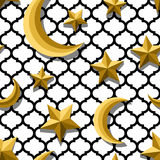 Vector seamless arabic pattern with 3d stylized golden moon and stars. Royalty Free Stock Images