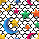 Vector seamless arabic pattern with 3d stylized multicolor moon and stars. Stock Images