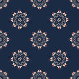 Vector seamless arabic pattern with rounded elements. Background in blue and red colors. Fabric texture Royalty Free Stock Photos