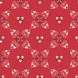 Vector seamless arabic pattern with rounded elements. Red pattern background. Fabric texture Stock Images