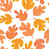Vector seamless Autumn pattern of fall leaves. Oak leaf seaonal background red, yellow, gold, and white for textile, digital paper. Wallpaper, web banner royalty free illustration