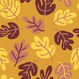 Vector seamless Autumn pattern of fall leaves. Oak leaf seaonal background red, yellow, gold, and white for textile, digital paper, wallpaper, web banner stock illustration