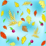 Vector seamless autumn texture with leaves and wheat spikes on blue background. For textile and wallpapers royalty free illustration