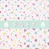 Vector seamless baby patterns set Royalty Free Stock Photography