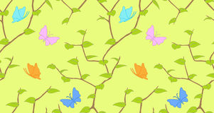 Vector seamless background. With tree and butterfly Royalty Free Stock Photos