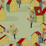 Vector seamless background. Vector illustration with seamless pattern with houses Stock Photography