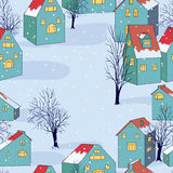 Vector seamless background. Vector illustration with seamless pattern with houses Stock Images