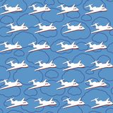 Vector seamless background with airplanes Stock Photos
