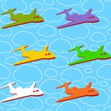 Vector seamless background with airplanes Stock Photo