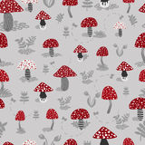 Vector seamless background of amanita with forest plants. On grey stock illustration