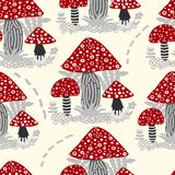 Vector seamless background of amanita mushroom with forest plant. S on bright colour royalty free illustration