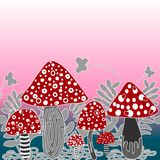 Vector seamless background of amanita mushroom with forest plant. S on pink colour stock illustration