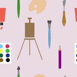 Vector seamless background with art materials. Stock vector seamless background with art materials. EPS 8 Stock Images
