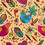 Vector seamless background with birds and flowers Stock Photos