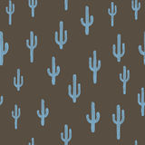 Vector seamless background with bluish cactus. On background brown. Ready for printing on textile and other seamless design stock illustration