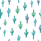 Vector seamless background with bluish cactus. On background white. Ready for printing on textile and other seamless design royalty free illustration