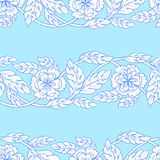 Vector seamless background with borders. Intricate ornament made of twisted flowers. Stock Image