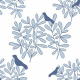 Vector seamless background with branches and birds. Pattern for design Royalty Free Stock Photography