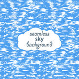 Vector seamless background of bright blue summer sky. With white clouds, painted with a brush by hand Royalty Free Stock Photos