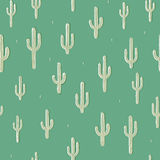 Vector seamless background with cactus on background green. Ready for printing on textile and other seamless design royalty free illustration