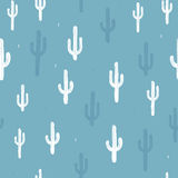 Vector seamless background with cactus. In white and blue on background blue. Ready for printing on textile and other seamless design stock illustration