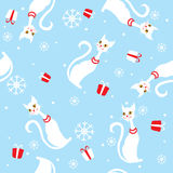 Vector seamless background card for christmas and. Vector seamless background card with cats for christmas and new year Stock Photo