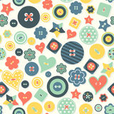 Vector seamless background of colored buttons different form. Royalty Free Stock Photos