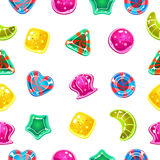 Vector seamless background with colorful Halloween. Candies Royalty Free Stock Photography