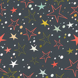 Vector seamless background with colorful stars on dark background. Eps-8 Royalty Free Stock Images