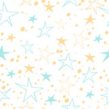 Vector seamless background with colorful stars on white background. Eps-8 Stock Image