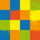 Vector seamless pattern. Vector seamless background with colors squares and splashes Stock Image