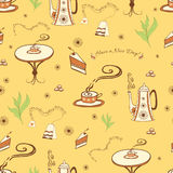 Vector seamless background with a cup of tea. Teapot, cake, cafe table and tea bag made on doodle style. Cute wallpaper or pattern for web or wrapping paper Stock Photography
